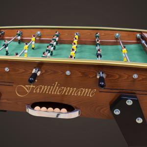 Tischfussball mit eingefrästem Namen